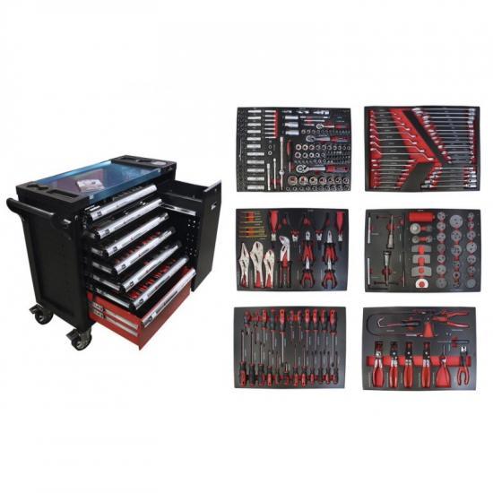 Тележка инструментальная 7-и полочная(черная) с набором инструментов 288пр, доп.-ой боковой секцией, металлич.-й накладкой на стол 990х1140х450мм EF-2210-02 - 1