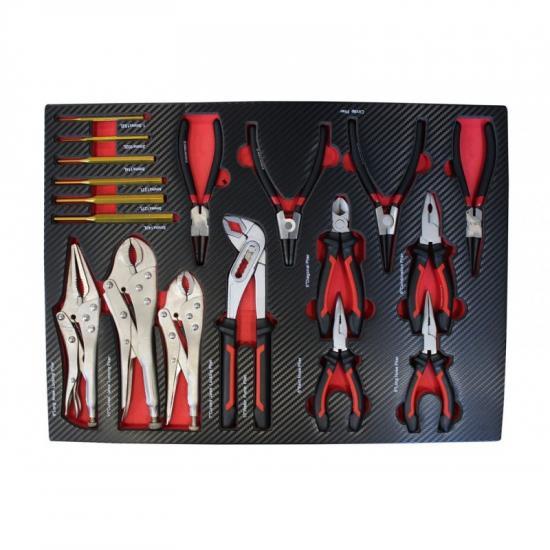 Набор шарнирно-губцевого инструмента 18пр(утконосы,бокорезы,пассатижи,съемники ст-х колц-4шт,гейф-е захваты-3шт,пассатижи пер-е,выколотки-5шт)в лож-те EF-21047 - 1