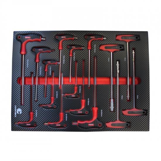 Набор ключей Т-образных TORX/6-гранных с шаром и ключей торцовых с головкой 16пр.(Н:2-8мм,Тorx:Т10-Т50;торцовые:6,8,10,13мм)в ложементе EF-21055 - 1